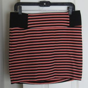 Charlotte Russe Coral/Black Mini Skirt Size L